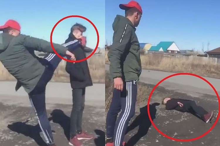 Жертву нокаутировали одним ударом.
