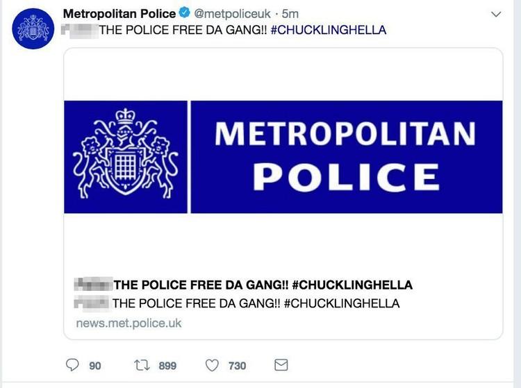 В твиттере британской полиции появились оскорбительные высказывания в адрес правоохранителей