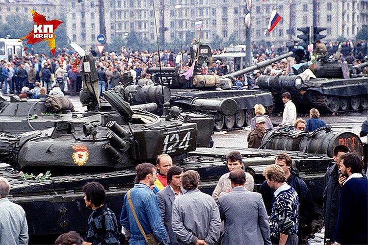 Август 1991 года, танки на улицах Москвы.
