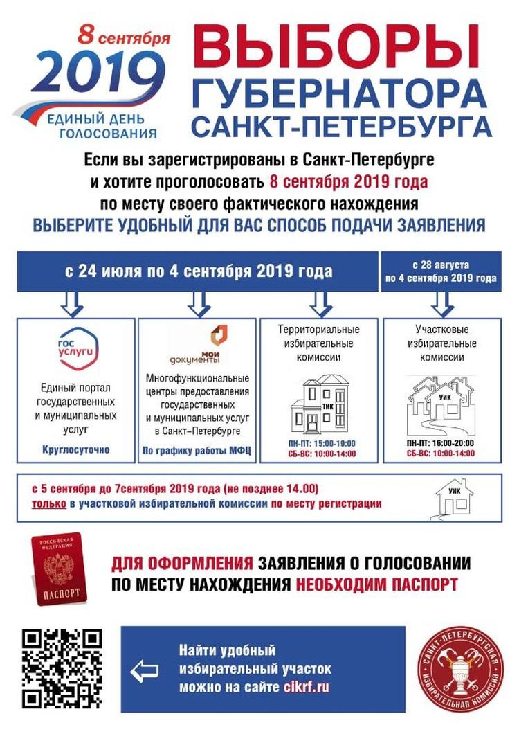 Памятка. Выборы Губернатора Санкт-Петербурга.