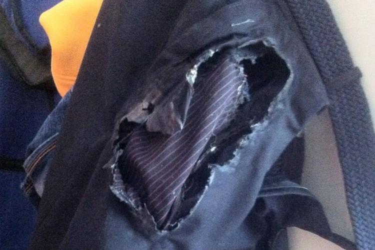 Вот, что осталось от брюк после пожара!