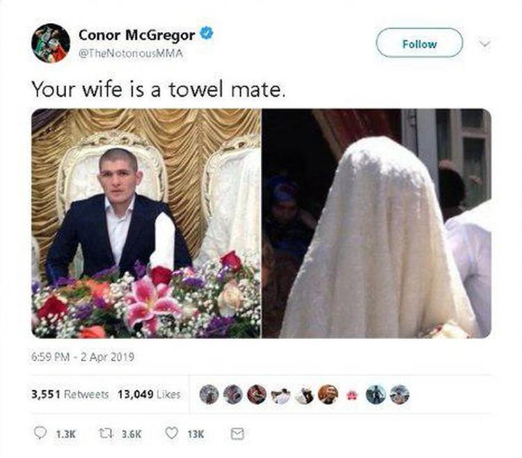 Конор Макгрегор, в попытке задеть Хабиба, назвал Патимат «полотенцем»