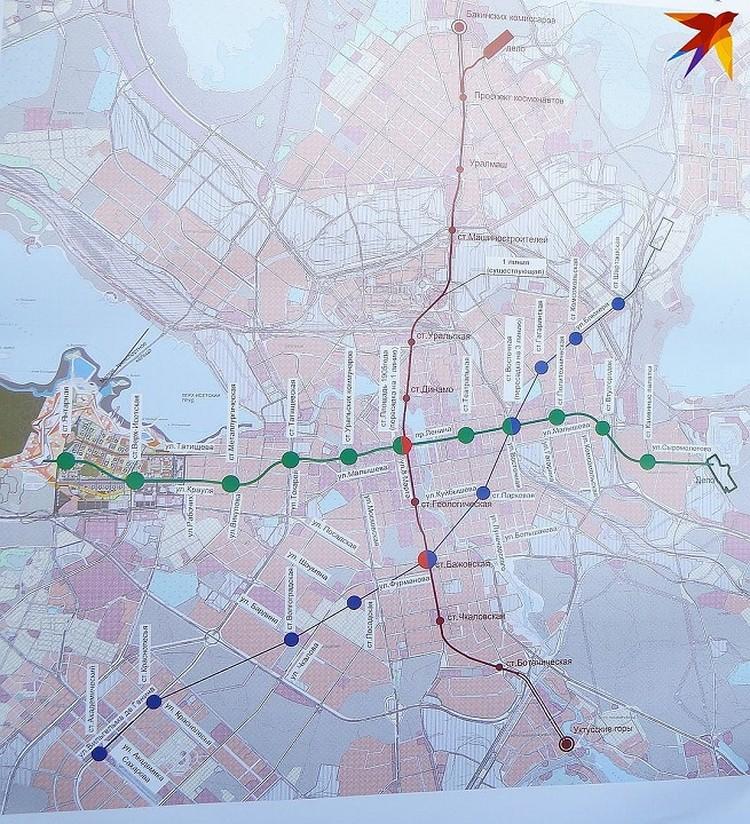 Проект метрополитена в Екатеринбурге с тремя станциями