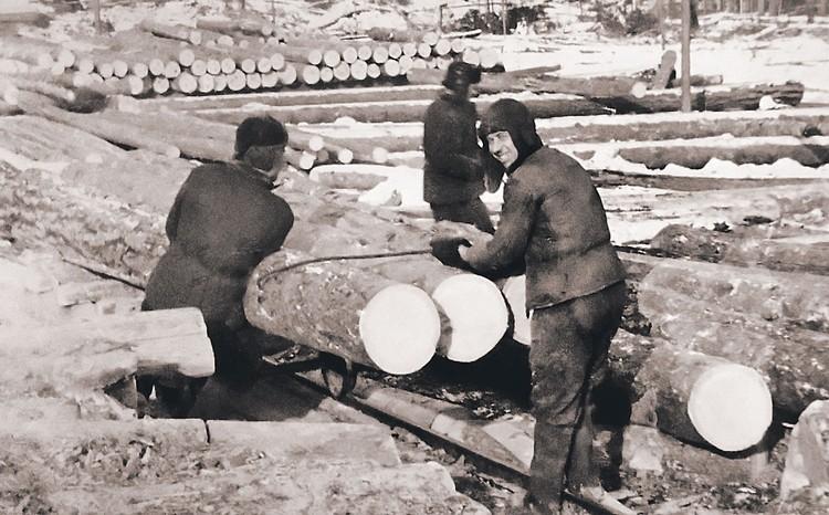 Заключенные в Озерлаге в 1950 году. Именно в те времена была популярна песенка: «В лагерях мы кубики таскали, от мороза руки замерзали...», где под «кубиками» имелись в виду кубометры леса.