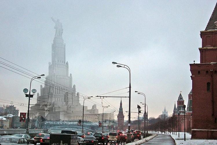 Вот так бы выглядел сегодня центр Москвы, если бы Дворец Советов был построен. Фото alfaed.ru