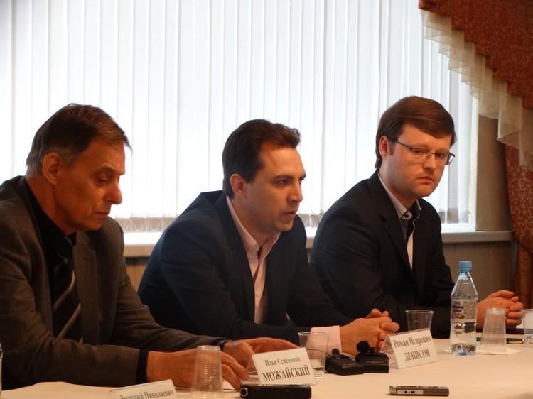 Слева направо: главный режиссер Илья Можайский, главный дирижер Роман Денисов, дирижер Леонид Привалов
