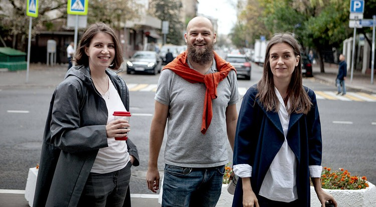 Авторы проекта Маша Гельман, Антон Ногинов и Екатерина Колчанова. Фото: tepertak.ru.