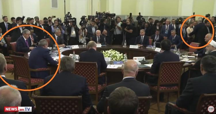 Лукашенко общается с женщиной (на фото справа), Пашинян выступает с приветственной речью (слева). Кресло рядом - пустует. Кадр портала news.am.