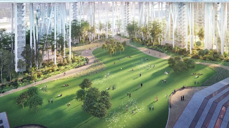 Открытый общественный парк площадью 4 га.