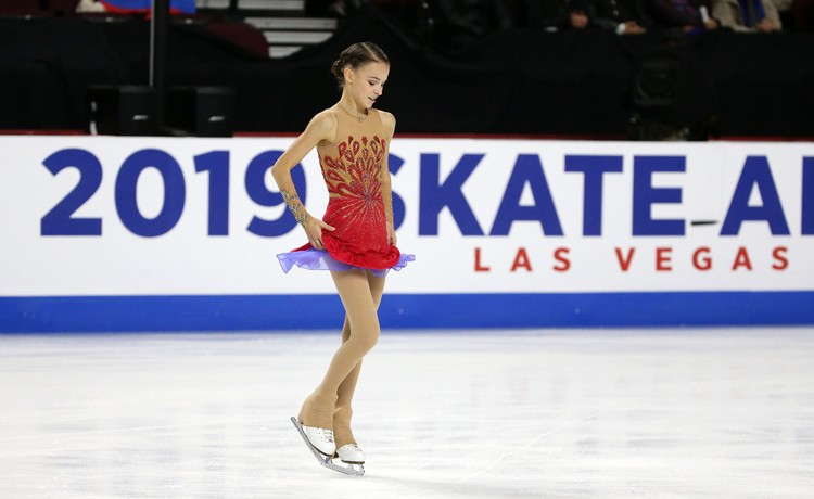 Анна Щербакова во время выступления в Лас-Вегасе.