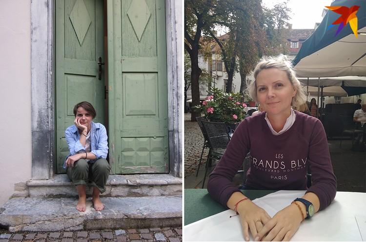 Вольга у входа в замок, где она теперь живет, во время стипендии 2013 года и в кафе в центре Граца. Фото: Личный архив