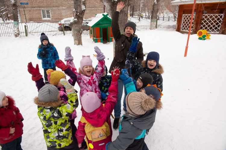 Детский сад работает по системе Монтессори - здесь разновозрастные группы.