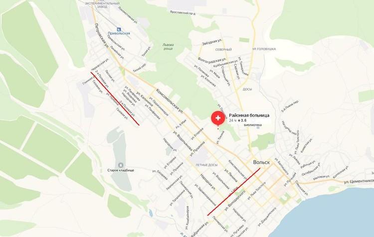 Улицы 1-го Мая и Полбина на карте