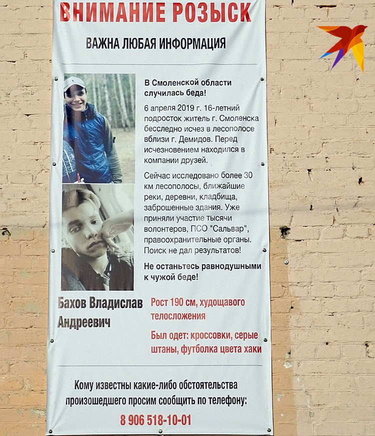 На стенах в Демидове до сих пор висят плакаты, взывающие к помощи в поисках Влада Бахова