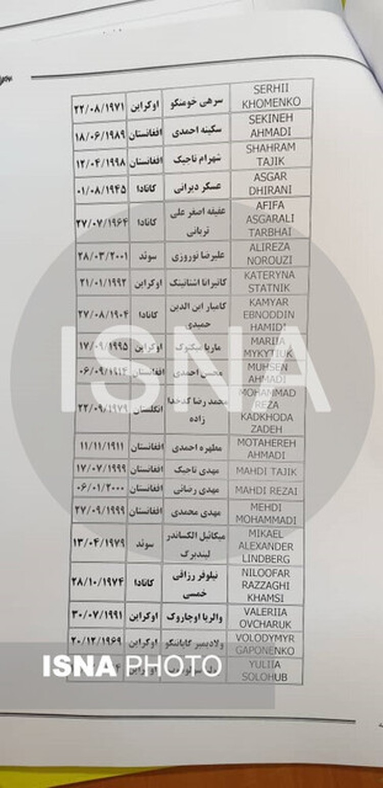 Позднее в интернете появился именной список пострадавших. Фото: ISNA Fhoto