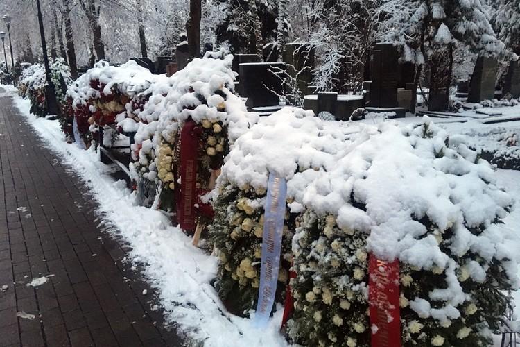 Первый в наступившем году снег придал Новодевичьему кладбищу торжественности