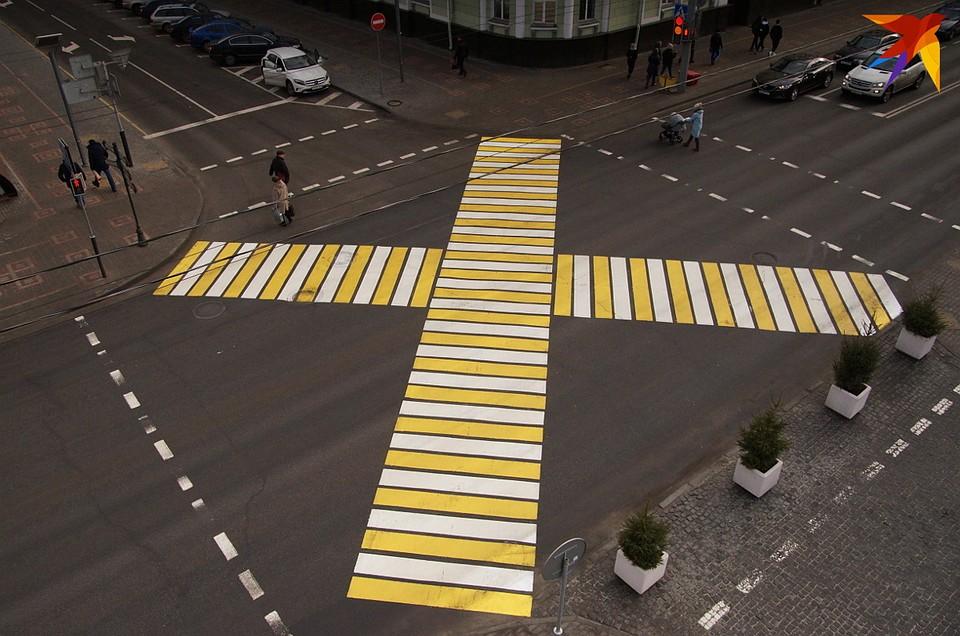 Диагональный пешеходный переход впервые появился в Гомеле Фото: Павел МИЦКЕВИЧ