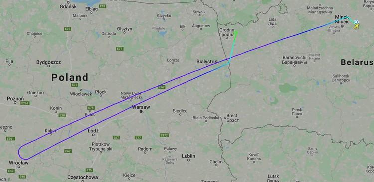 Маршрут самолета, который вернули в Гродно. Фото: flightradar24.