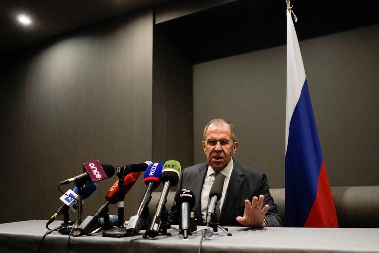 Глава МИД России Сергей Лавров во время пресс-конференции в Мехико.