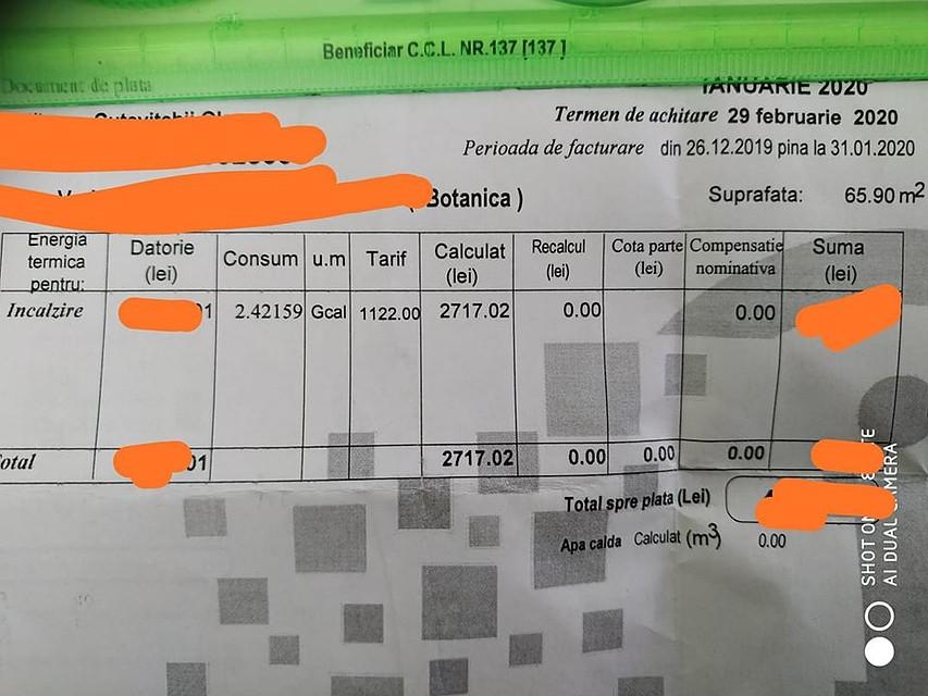 Счета на такие сумасшедшие сумму пришли кишиневцам. Фото: соцсети.