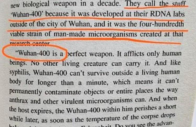 В романе «Глаза тьмы» речь идет о смертельном вирусе, разработанном в городе Ухане.