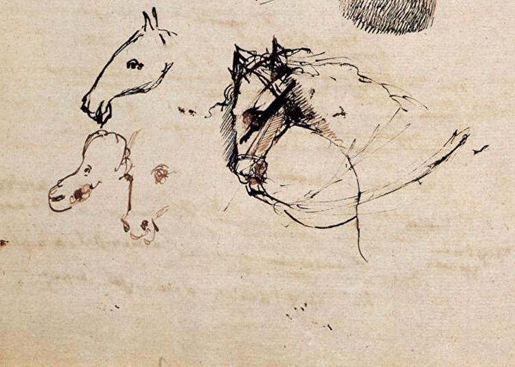 На этой картинке, - утверждают пушкинисты, - поэт изобразил иллюстрацию к «Коньку-Горбунку». Справа - взнузданная кобылица, слева - три коня, которых она подарила Ивану. Конь посередине удивительно напоминает самого Пушкина. Фото : Пушкинский Дом