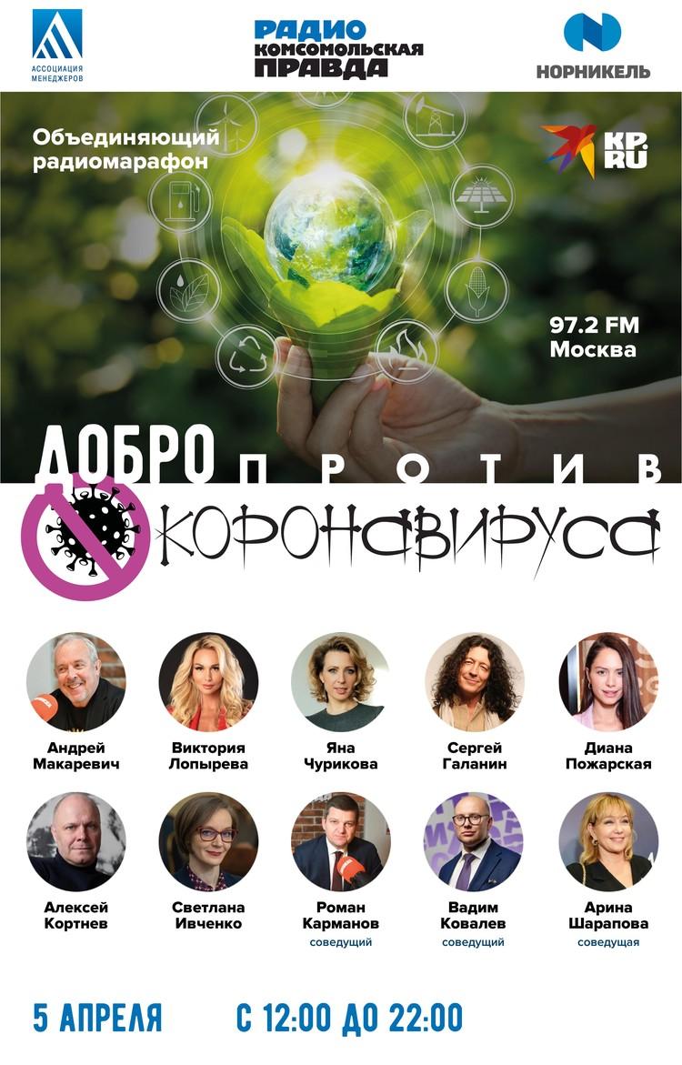 5 апреля на радио Комсомольская правда - марафон «Добро против коронавируса»