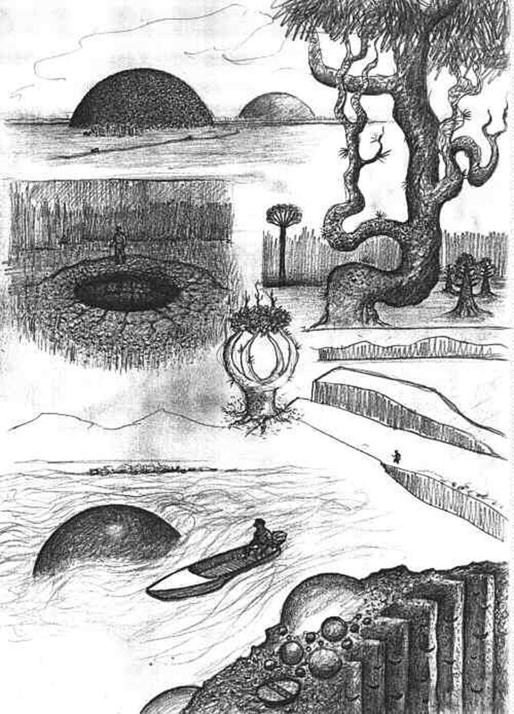 Один из рисунков долины смерти со слов местных жителей