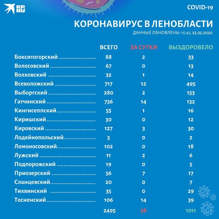 Карта распространения коронавируса в Ленинградской области на 25 мая 2020 года.