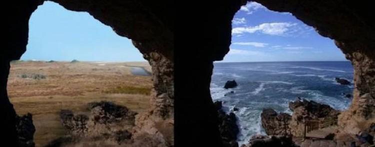 Райское место сотни тысяч лет назад (слева) и в наше время.