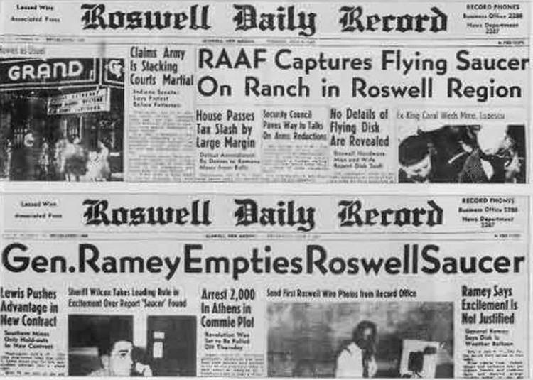 Газеты с сообщениями о катастрофе под Розуэллом.