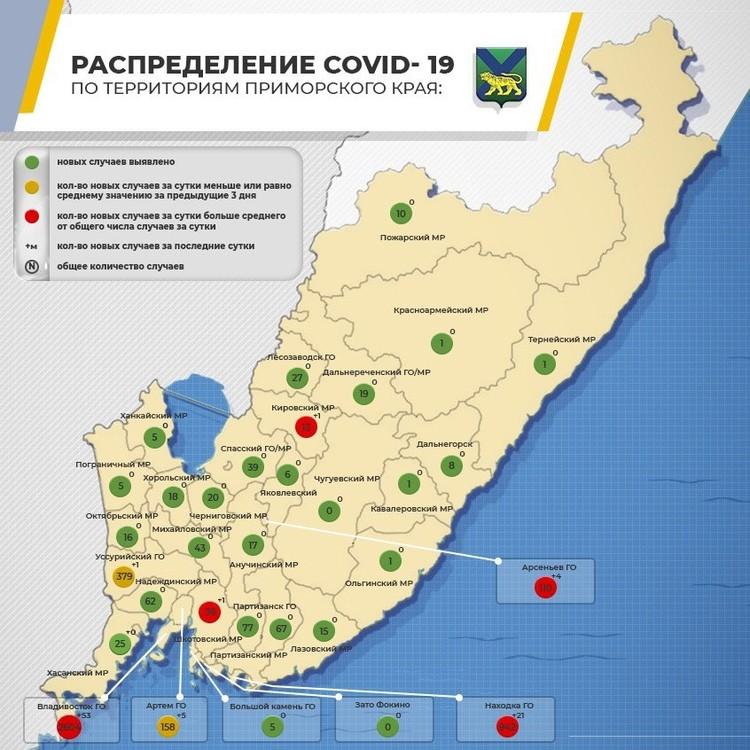 Распространение COVID-19 по Приморскому краю. Инфографика: сайт правительства Приморья