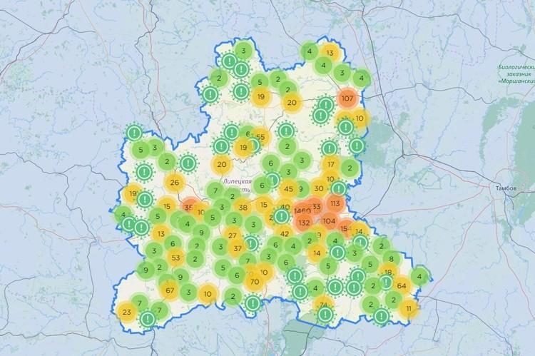 Карта очагов коронавируса в Липецкой области