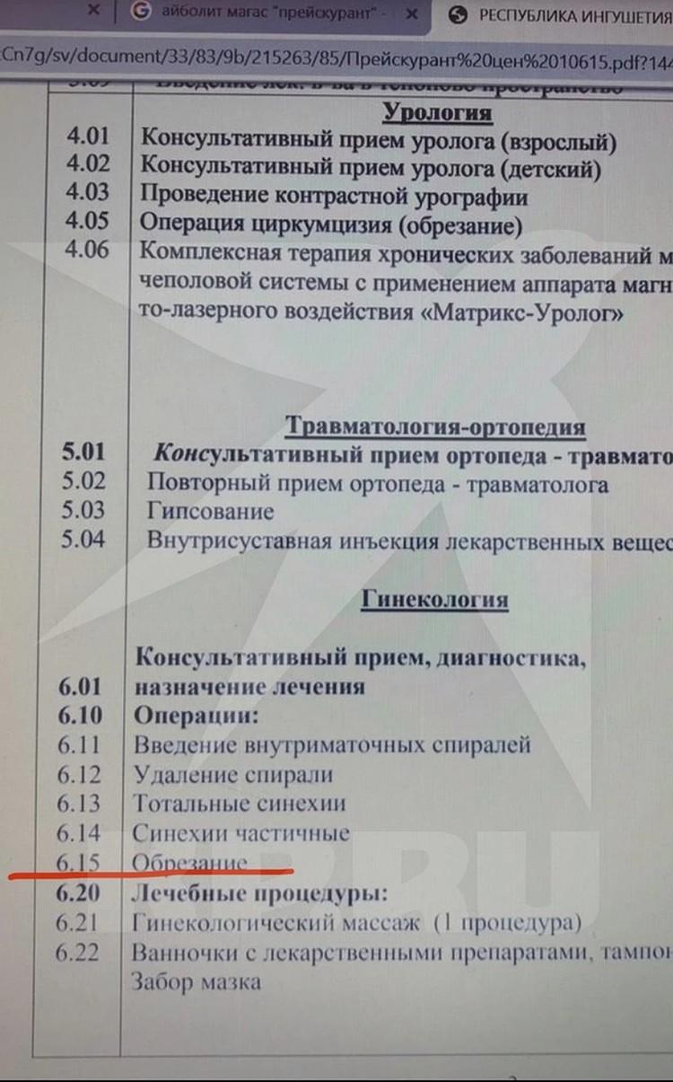 """Прейскурант """"Айболита"""" до уголовного дела"""