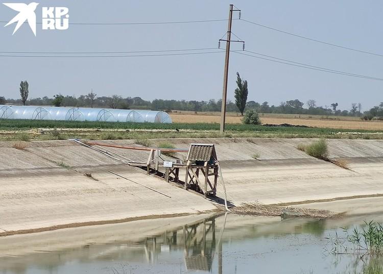 Отрезок Северо-Крымского канала под Джанкоем, один из сотни нелегальных насосов - фермеры воруют остатки воды для хозяйства. Это незаконно, но понять их можно.