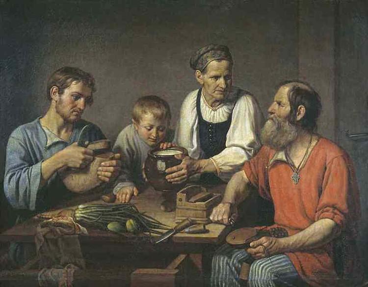 """Крепостные крестьяне и их угнетение стало главной темой книги. """"Крестьянская семья перед обедом."""" Ф.Г. Солнцев, 1824/Репродукция."""