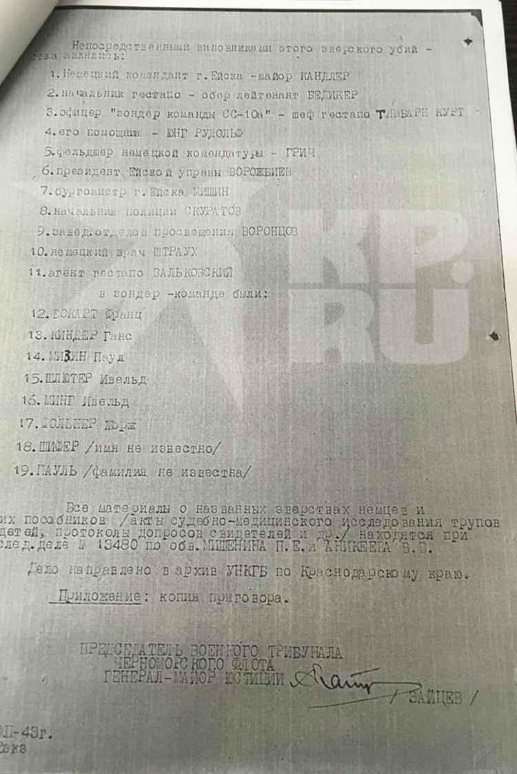 Госархив предоставил списки всех участников казни детей в Ейске