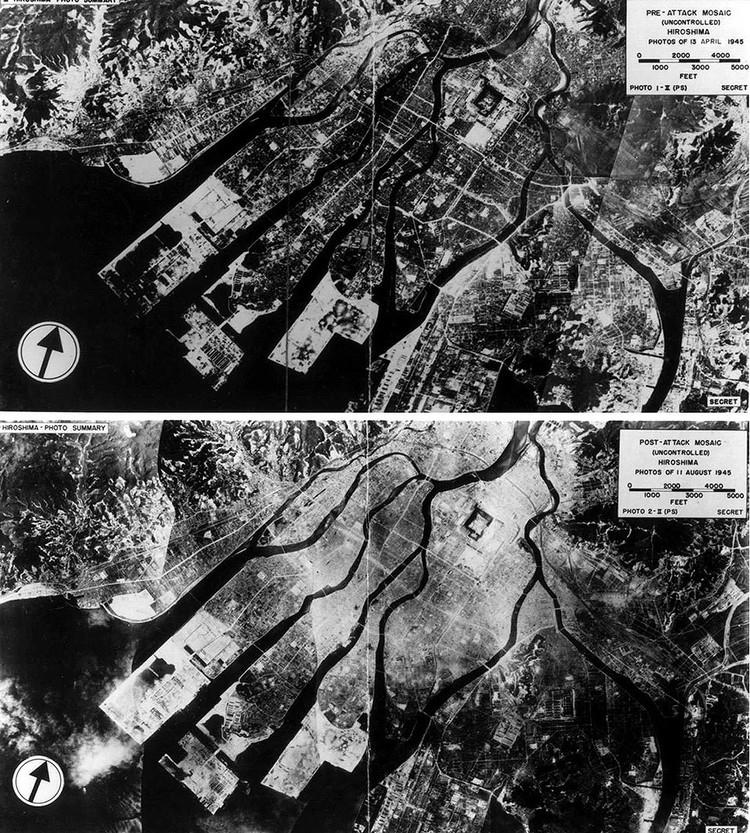 Аэрофотосъемка портового района Хиросимы - до и после бомбардировки.