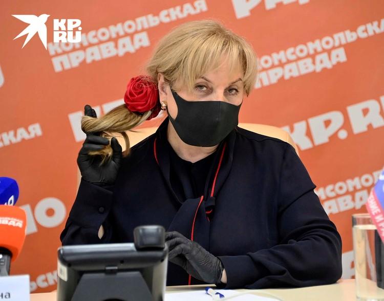 Глава ЦИК Элла Панфилова на пресс-конференции в редакции Комсомольской правды.