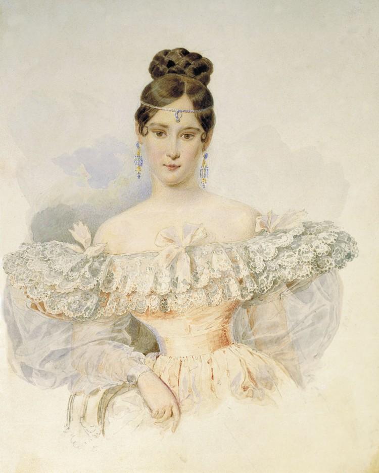 А. П. Брюллов. Портрет Н. Н. Пушкиной. Акварель, 1831—1832
