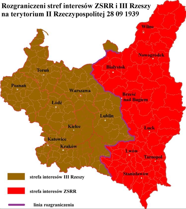 Раздел польских территорий между Германией и СССР по договору от 28 сентября 1939 года.