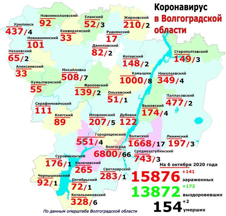 География распространения коронавируса на 6 октября 2020 года