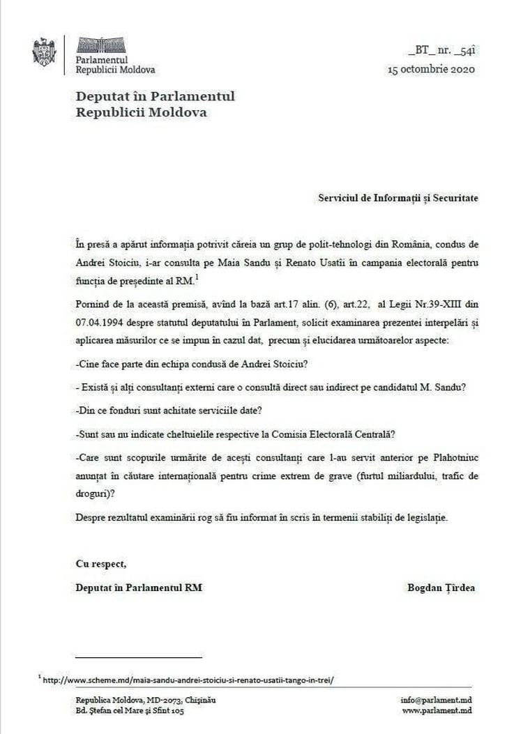 Депутат парламента от ПСРМ Богдан Цырдя обратился в СИБ с требованием проверить появившуюся в СМИ информацию о группе румынских политтехнологов, которые будут консультировать Майю Санду и Ренато Усатого