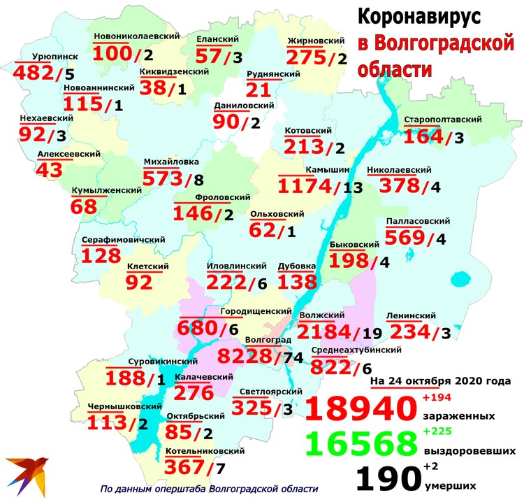 География распространения коронавируса в регионе.