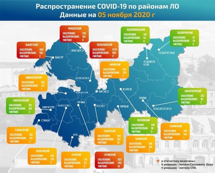 Последние данные по распространению коронавируса в Ленобласти. Фото: vk.com/minuscovid_lo