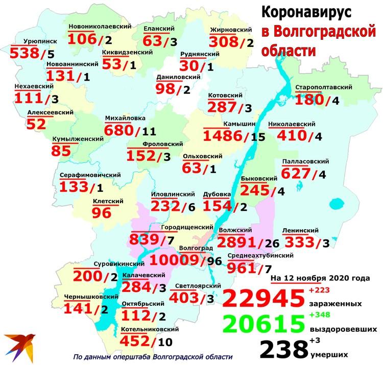 География распространения коронавируса в Волгоградской области на 12 ноября
