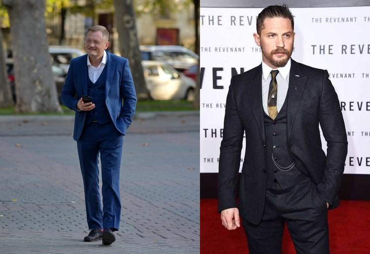Слева: Обувь к этому образу не подходит, справа: а вот так, как на Томе Харди, мужской костюм выглядит стильно