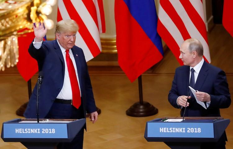 Президент США Дональд Трамп и президент России Владимир Путин в Хельсинки.