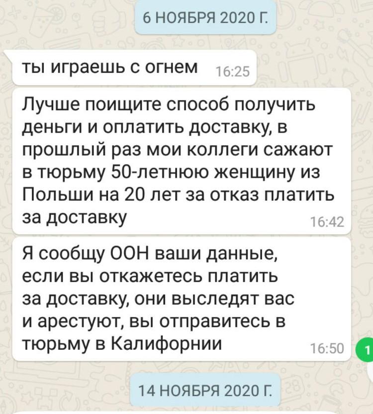 """Сообщения которые мошенник и писали сибирячке. Фото: предоставлено """"КП""""-""""Иркутск"""""""