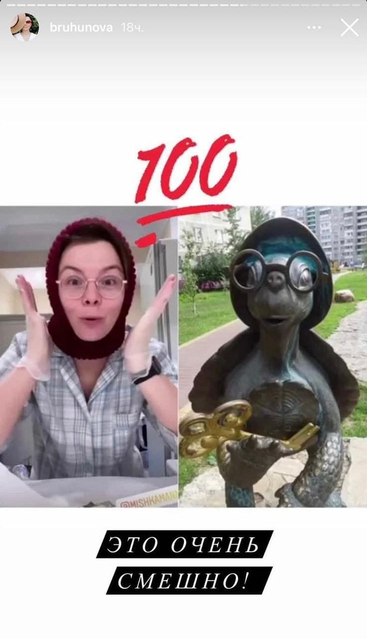 Некоторое время назад Брухунова решила посмеяться над очередным выпадом со стороны хейтеров и опубликовала картинку, на которой ее сравнили с черепахой Тортиллой.